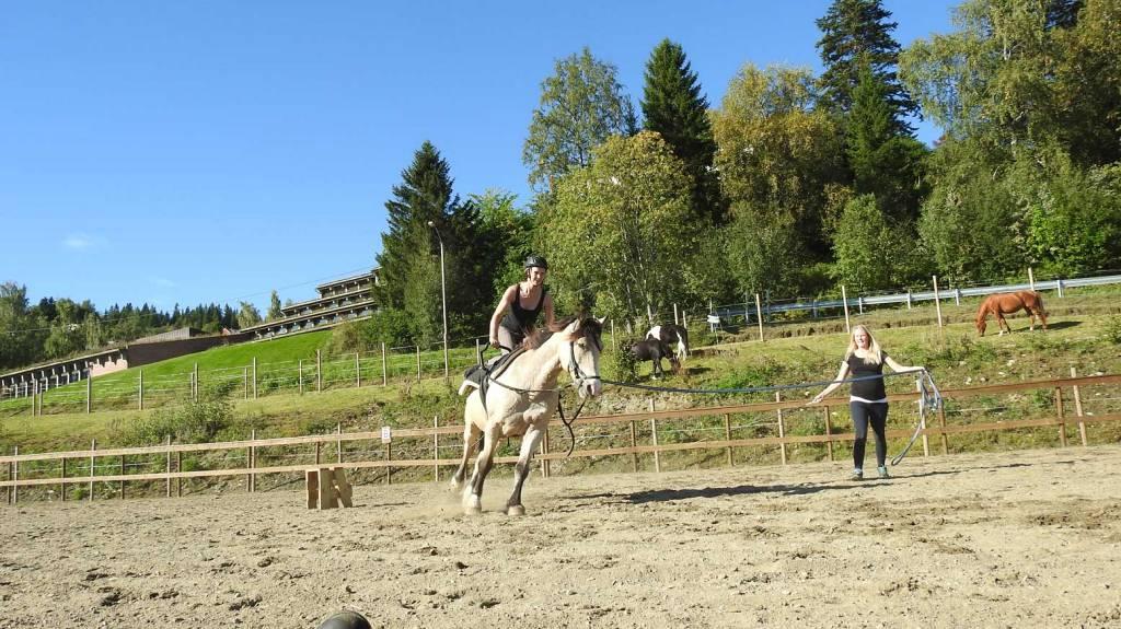 Elev på hestelinja på Peder Morset Folkehøgskole som øver voltige.