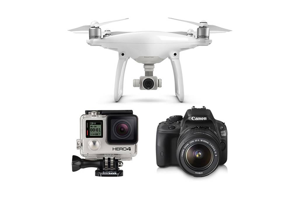 Drone og kamera.