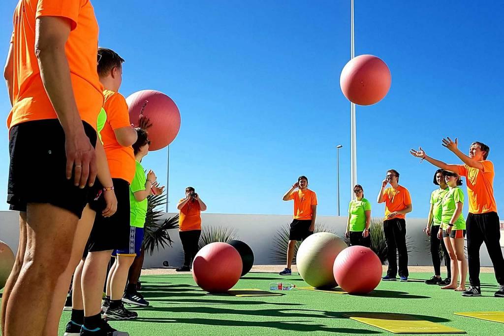 Fitball på La Santa på Lanzarote.