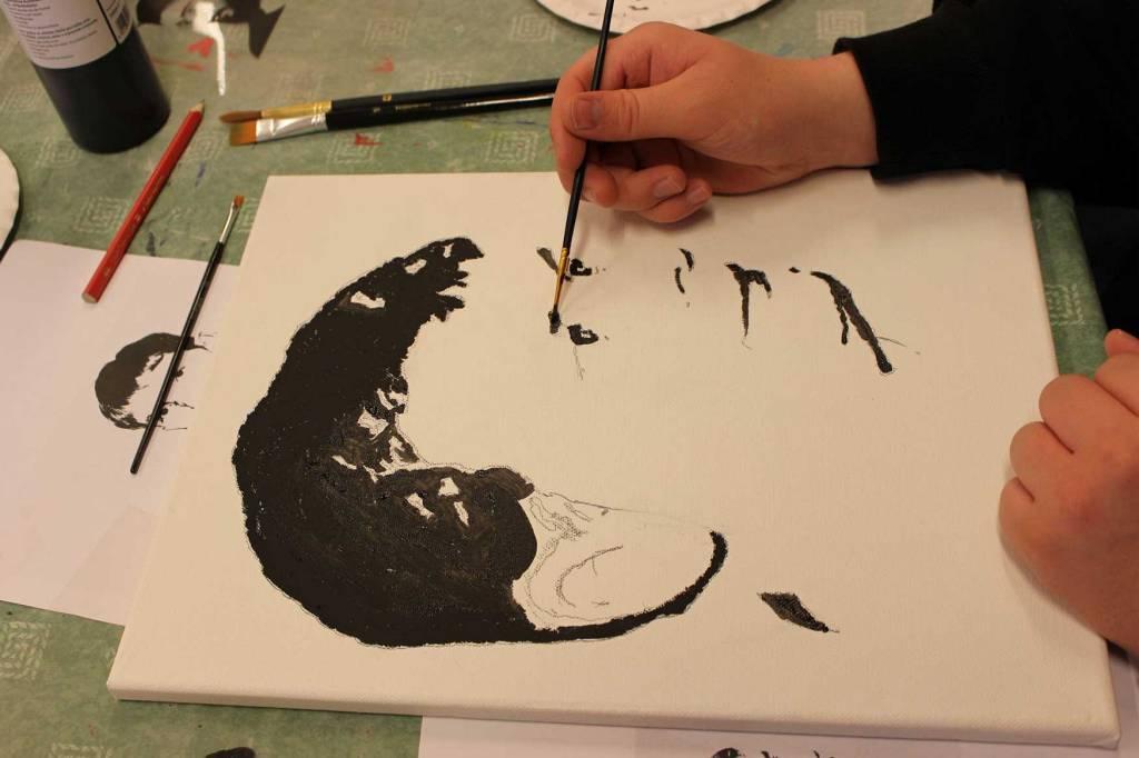 Grafisk portrett laget av elev på Peder Morset Folkehøgskole.