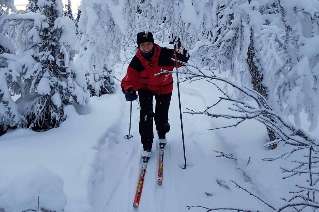 Elev på skitur med linja Flexi.