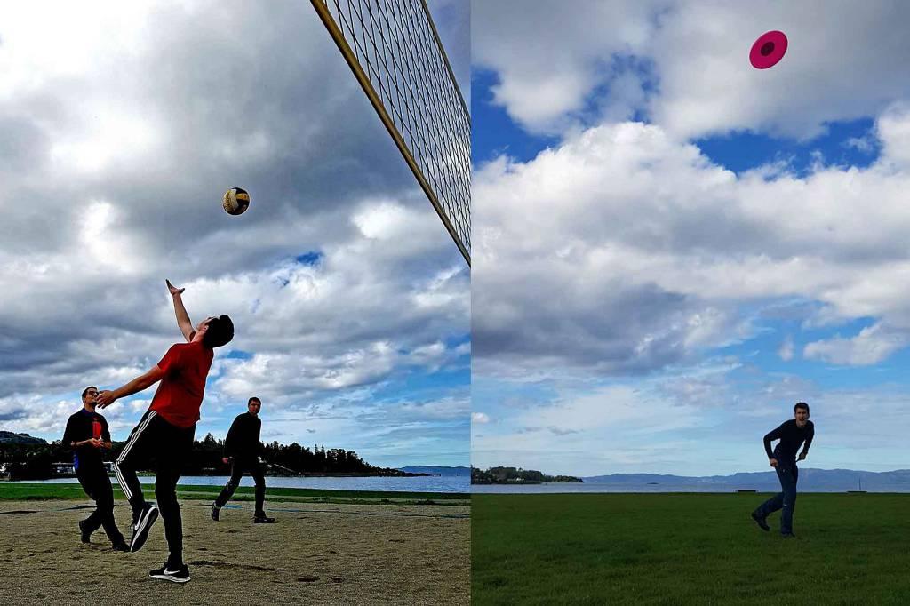 Volleyball og frisbee spilling på linja Flexi.